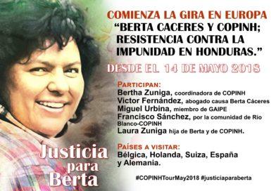 """Comienza la gira en Europa """"Berta Caceres y COPINH; resistencia contra la impunidad en Honduras."""""""