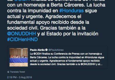 CIDH expresó su preocupación por la falta de acceso a la información en el caso de Berta Cáceres.