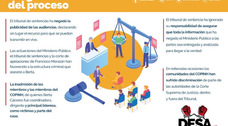 COPINH junto al equipo legal que acompaña la causa Berta Cáceres, NO pasará por alto ninguna irregularidad durante este proceso.