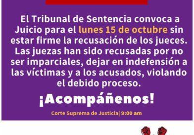 ALERTA! TRIBUNAL CONVOCA A JUICIO PARA EL LUNES 15/OCT