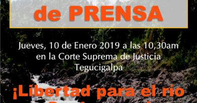 COPINH CONVOCA A CONFERENCIA DE PRENSA