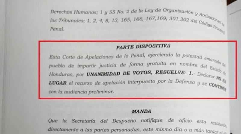 CORTE NIEGA APELACIÓN A DEFENSA DE DAVID CASTILLO Y ORDENA SE REANUDE AUDIENCIA EN SU CONTRA