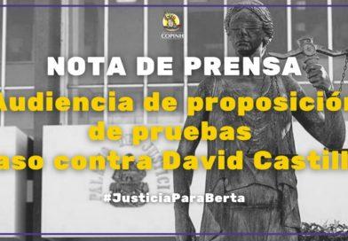 Nuevamente es suspendida la audiencia de proposición de pruebas contra David Castillo coautor en el asesinato de Berta Cáceres