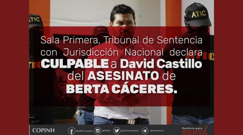 Comunicado: Una victoria popular de justicia para Berta; un paso al rompimiento del pacto de impunidad.