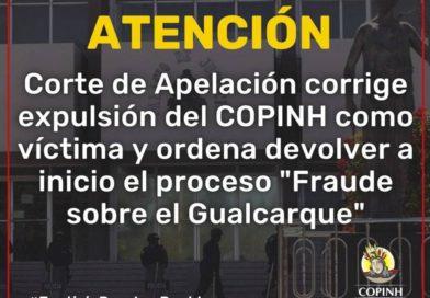 """Corte de Apelaciones confirma que proceso en el caso: """"Fraude Sobre el Gualcarque"""" es nulo desde que el COPINH fue expulsado como víctima"""